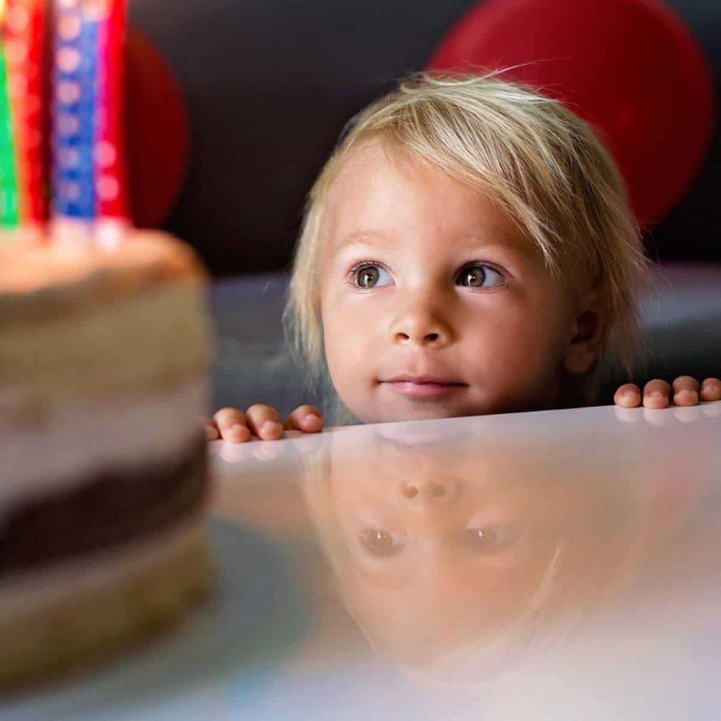 Toddler looks at cake