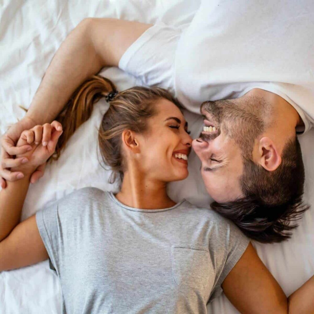 A Happy Heterosexual couple considers what to do before getting pregnant