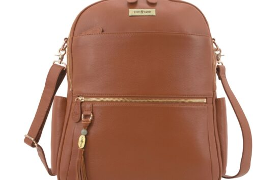 beautiful brown leather backpack with gold trim