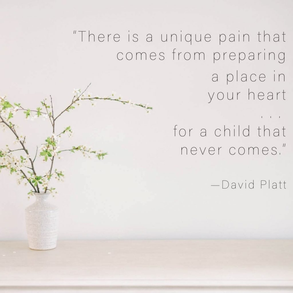 Photo of whimsical wooded floral with text to the right that says there is a unique pain that comes from preparing a place in your heart for a child that never comes by David Platt