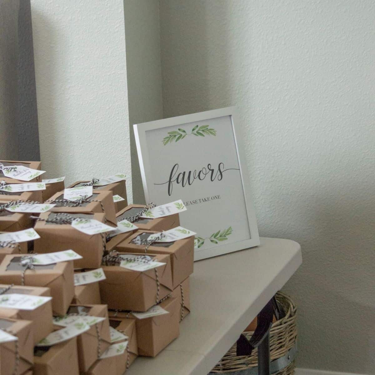 Baby shower favors table