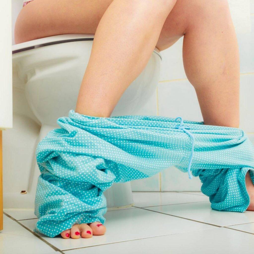 Postpartum Sitz Bath Woman on Toilet